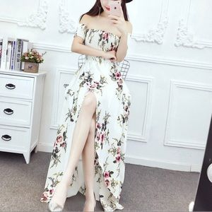 YESSTYLE White Floral Off The Shoulder Maxi Dress